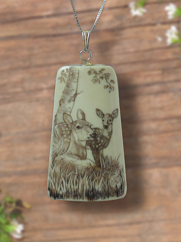 Doe and fawn scrimshaw