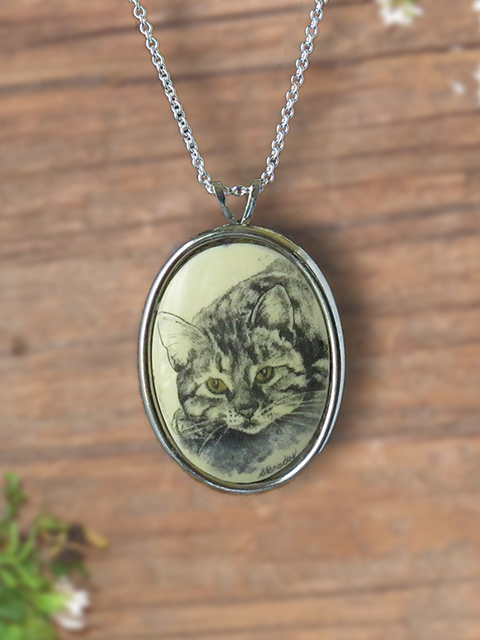 Grey tabby cat scrimshaw